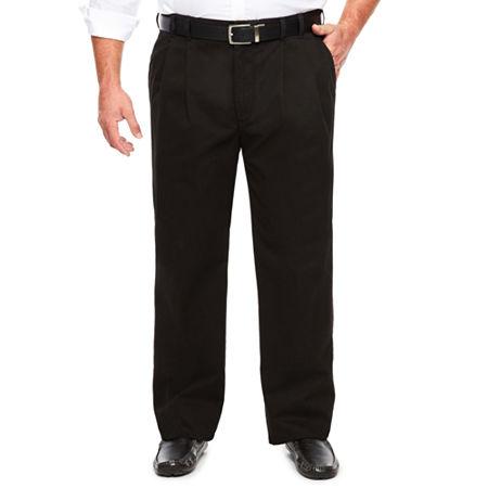 IZOD Sportflex Waistband Stretch Pleated Chino Pants-Big & Tall, 44 32, Black
