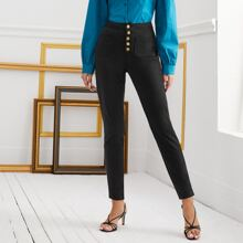 Button Front Skinny Pants