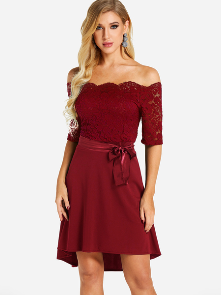 Yoins Burgundy Lace Insert Off The Shoulder Self-tie Design High-low Hem Dress