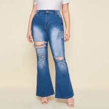 Plus Ripped Flare Leg Jeans
