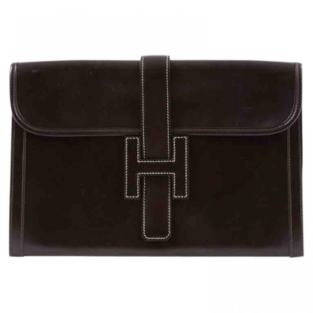 Hermès Jige Brown Leather Clutch bag for Women \N