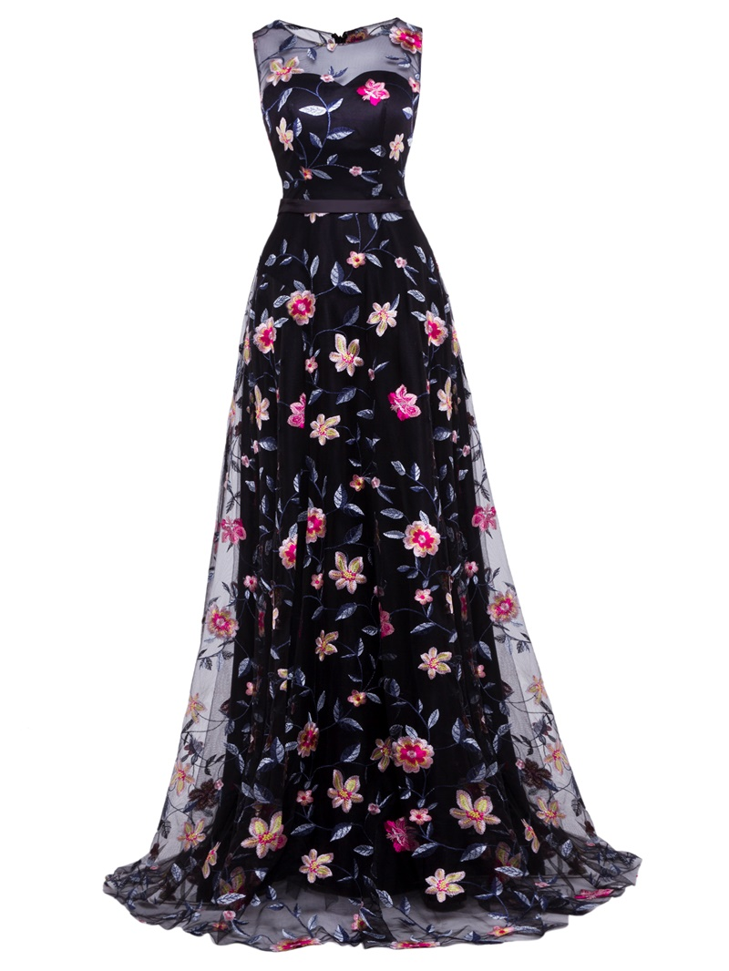 Ericdress A Line Lace Appliques Long Evening Dress