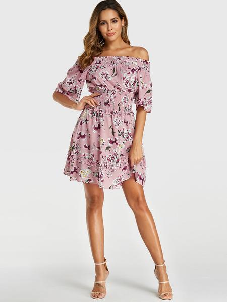 Yoins Pink Random Floral Print Off Shoulder Lettuce-edge Dress