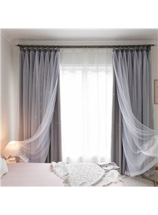 Grey Hollowed-out Star Cloth and White Sheer Sewing Together Decorative Curtains