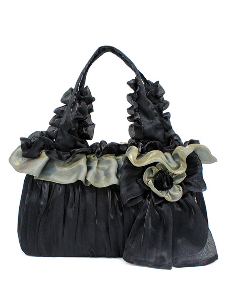 Milanoo Classic Lolita Handbag Two Tone Bow Ruffle Flower Black Lolita Torte Bag