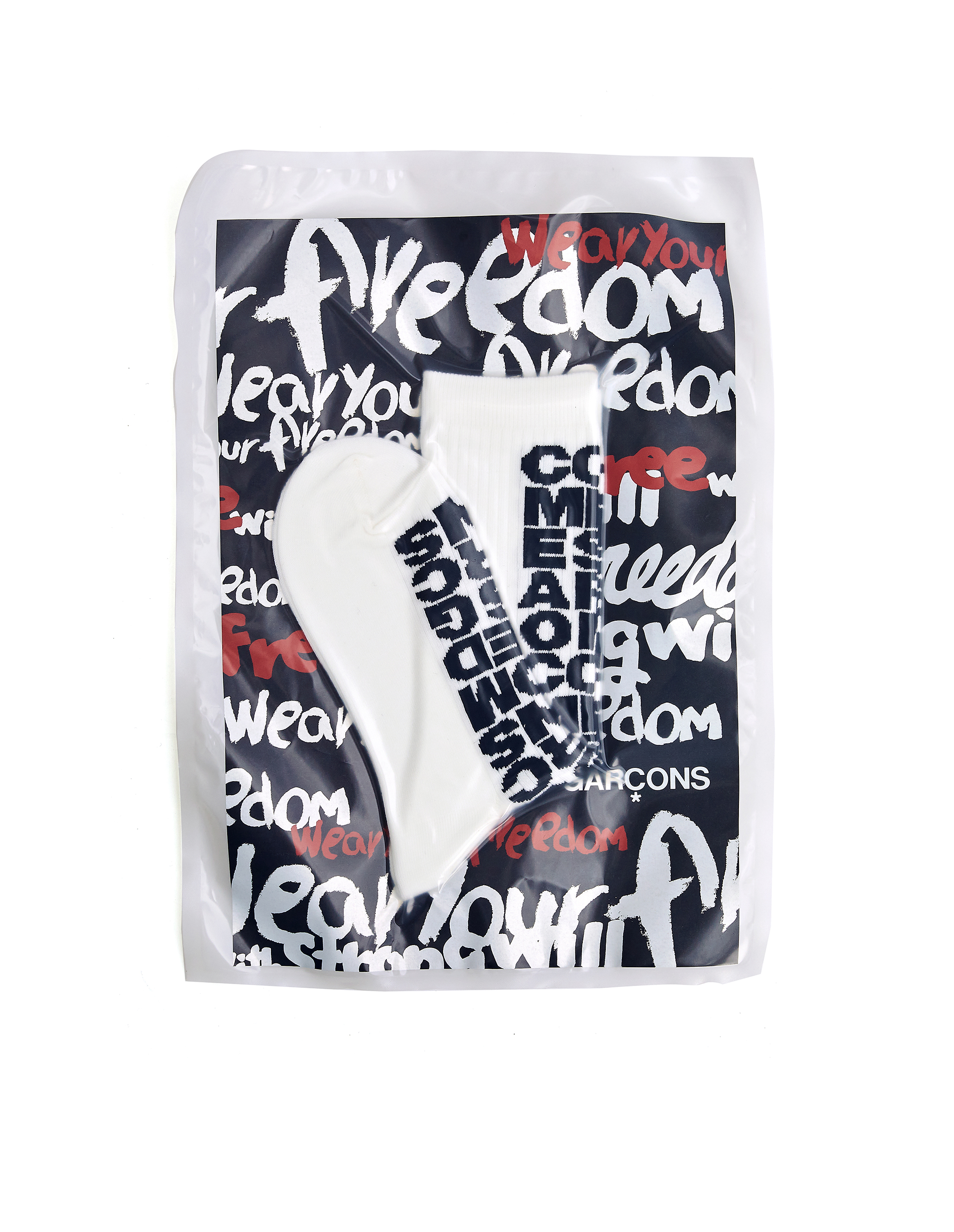 Comme des Garcons White Cotton Logo Socks