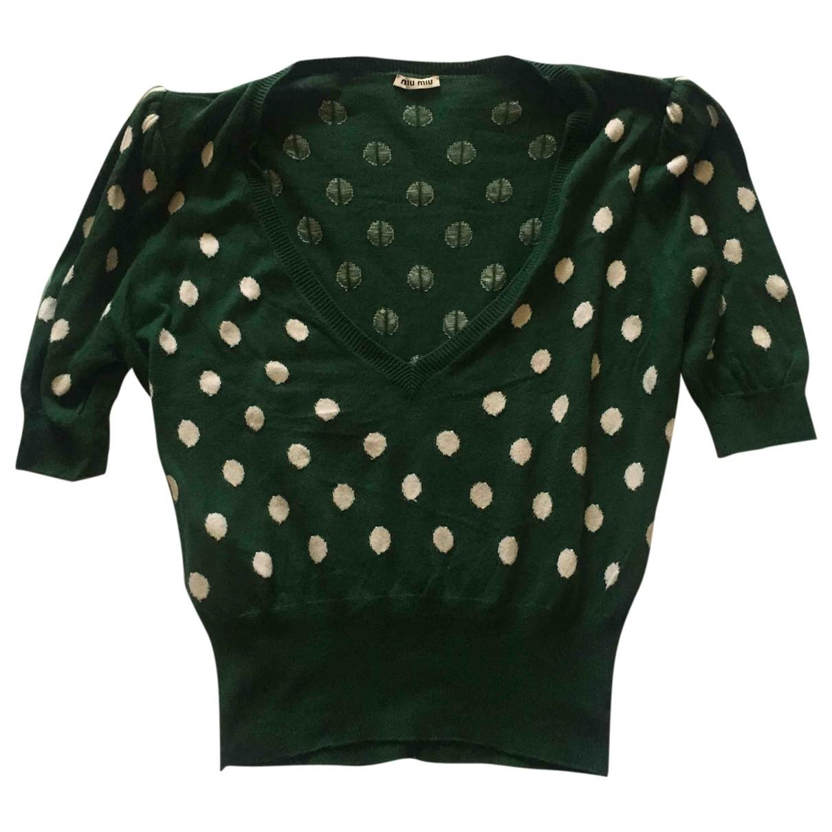Miu Miu \N Green Cotton Knitwear for Women 44 IT