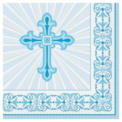 Serviettes déjeuner croix rayonnante bleue, 16ct