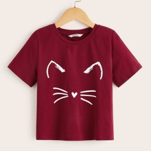 Maedchen T-Shirt mit Karikatur Muster und kurzen Ärmeln