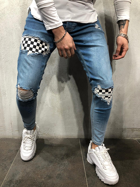 Yoins Men Plaid Patched Streetwear Ripped Skinny Stretch Jeans