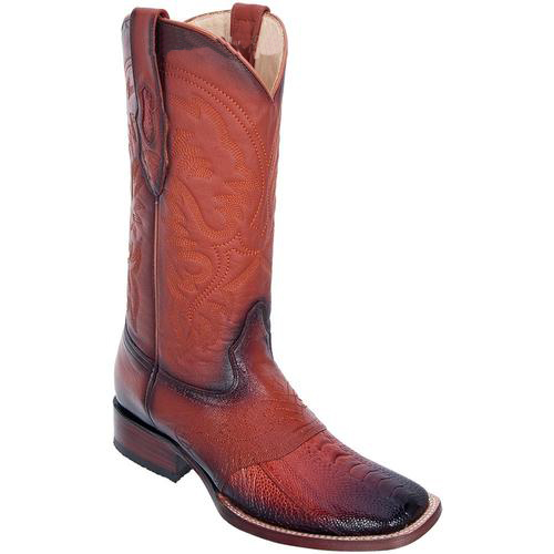 Men's Altos Wide Square Toe Ostrich Leg Boots Vamp Burnished Cognac