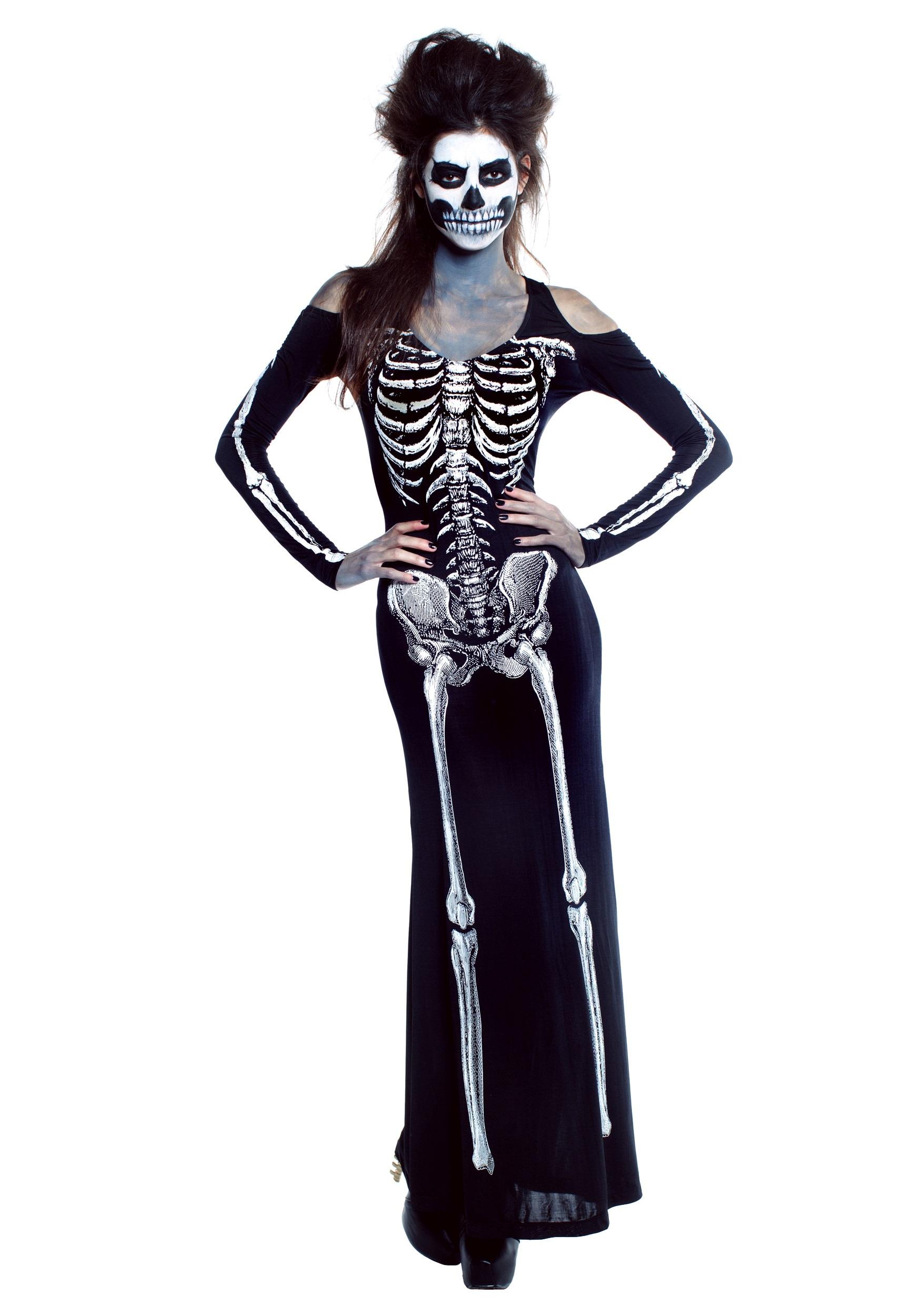 Bone Appetit Skeleton Long Dress Costume for Women