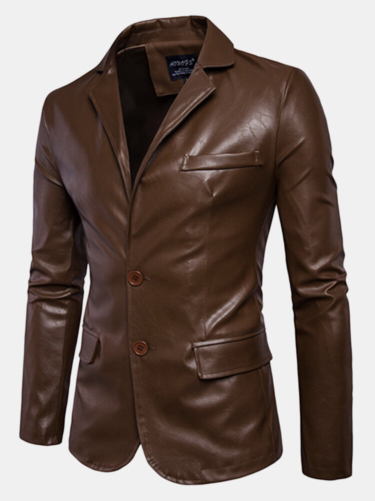 Solid Color Motorcycle Synthetic Faux Leather Solid Color Coat Jacket Suit for Men