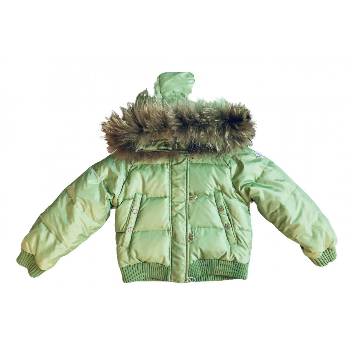 Moncler Fur Hood Jacke, Maentel in  Gruen Synthetik