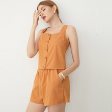 Button Front Cami Top and Slant Pocket Shorts Set
