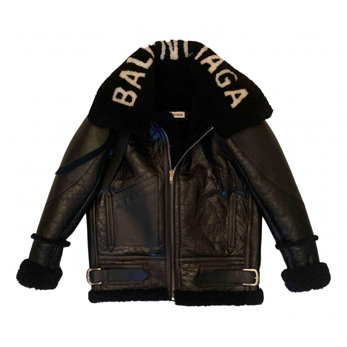 Balenciaga - Manteau   pour femme en cuir - noir