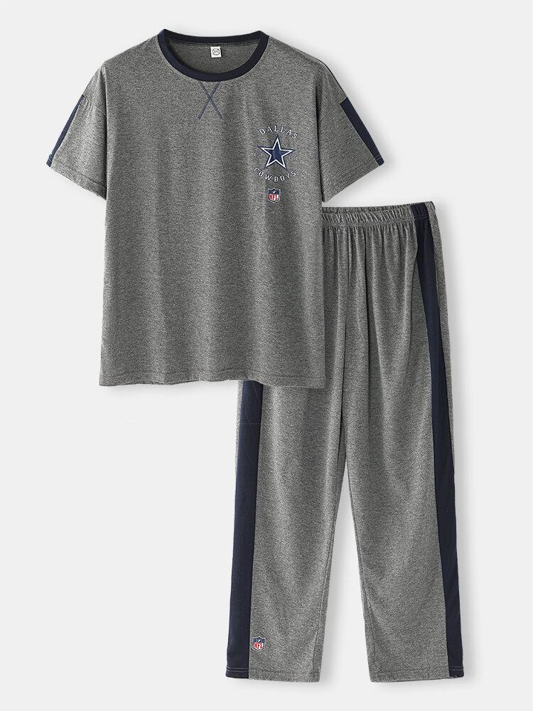 Mens Letter Side Stripe Print Cotton Short Sleeve Casual Home Pajamas Sets