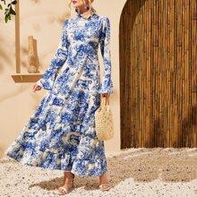 Vestido maxi con estampado de paisaje de cuello fruncido