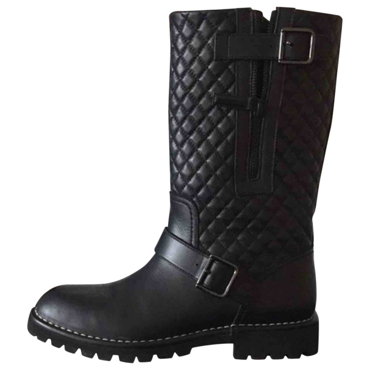 Chanel \N Black Leather Boots for Women 38.5 EU