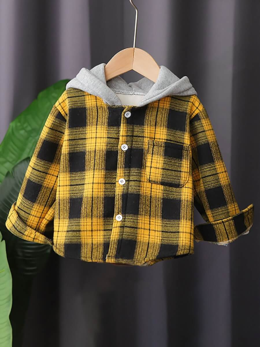 LW Lovely Casual Plaid Print Patchwork Pocket Design Yellow Shirt
