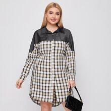 Plus Contrast Plaid Curved Hem Shirt Dress