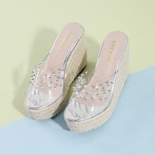Peep Toe Spiked Decor Clear Espadrille Wedge Mules