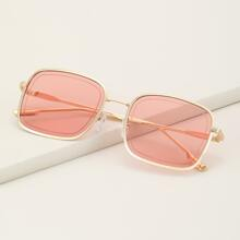 Square Metal Frame Sunglasses