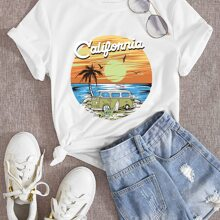 Beach And Letter Graphic Tee
