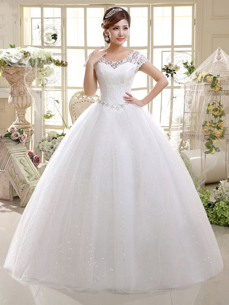 Ericdress Scoop Neck Cap Sleeve Lace Ball Gown Wedding Dress