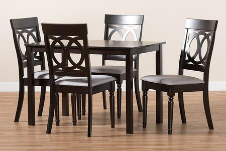 RH333C-GREY/DARKBROWN-5PCDININGSET Lucie Modern and Contemporary Grey Fabric Upholstered Espresso Brown Finished 5-Piece Wood Dining