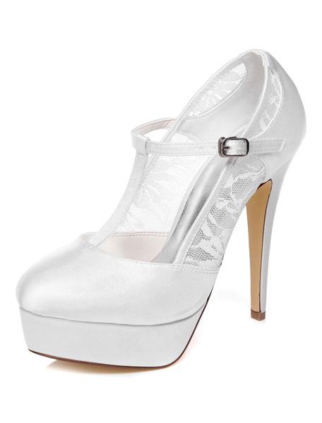 Milanoo Zapatos de novia de saten Zapatos de Fiesta de tacon de stiletto Zapatos blanco  Zapatos de boda de puntera redonda 13cm de encaje 3cm