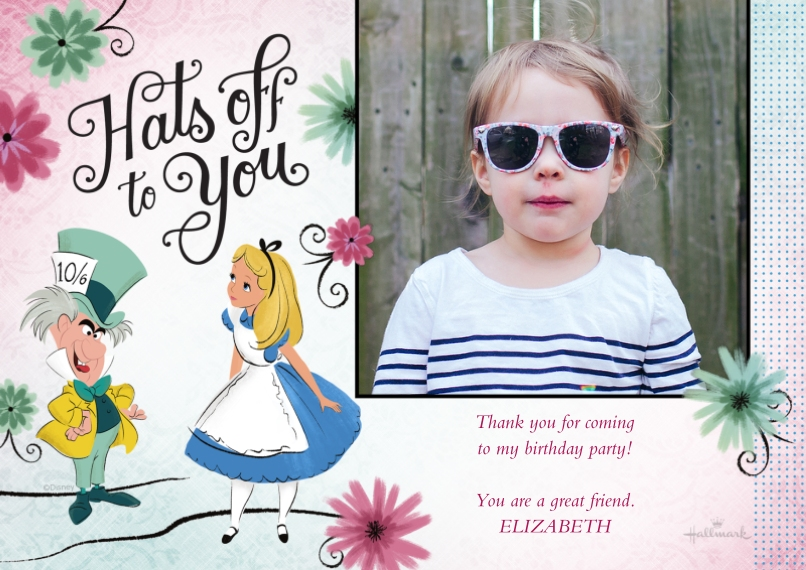 Kids Thank You Cards 5x7 Cards, Premium Cardstock 120lb with Elegant Corners, Card & Stationery -Hats Off - Alice in Wonderland