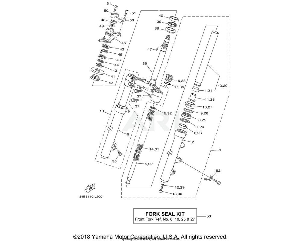 Yamaha OEM 5RU-23170-00-00 CYLINDER COMP., FRONT FORK