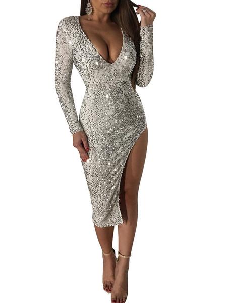 Milanoo Sequin Club Dress Glitter Plunging Long Sleeve Split Sexy Dresses For Women