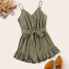 Button-Front Belted Ruffled Cami Romper