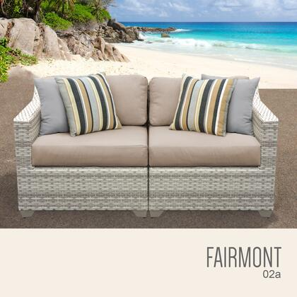 FAIRMONT-02a-WHEAT Fairmont 2 Piece Outdoor Wicker Patio Furniture Set 02a with 2 Covers: Beige and