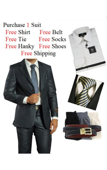 2 Piece Two Button Navy Suit Dress Shirt Free Tie and Hankie Package
