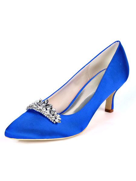 Milanoo Mid-low Heel Wedding Shoes Pointed Toe Pumps Kitten Heel Bridal Shoes