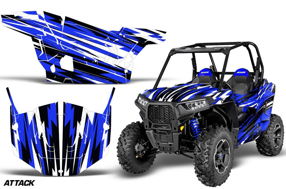 AMR Racing  Full Custom UTV Graphics Decal Kit Wrap Attack Blue Polaris RZR S 900 15-16