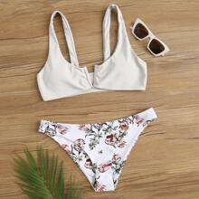 Floral V Wired Cheeky Bikini Swimsuit