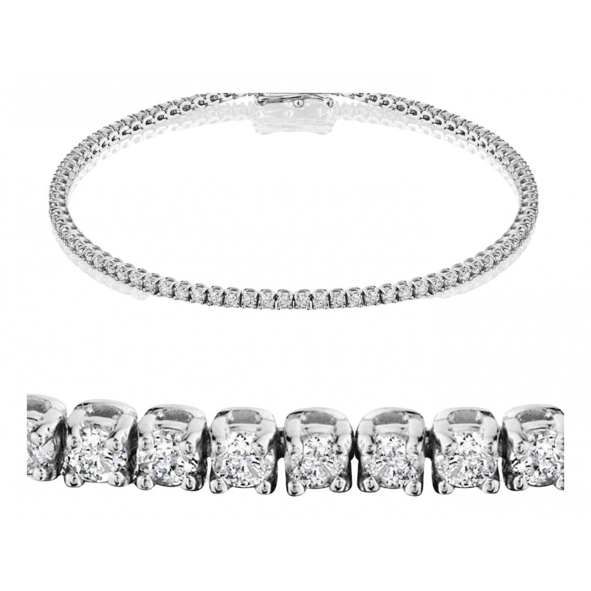 Non Signé / Unsigned Tennis White White gold bracelet for Women \N