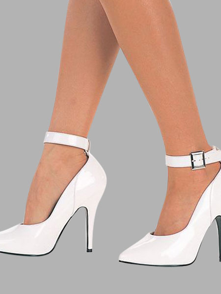 Milanoo Women White Shoes Pointed Toe Ankle Strap High Heels Sexy Shoes