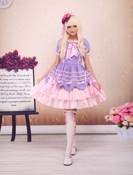 Milanoo Sweet Purple Pink Lolita OP Dress Short Sleeves Layers Bows and Trim