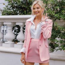 Lapel Collar Flap Detail Blazer & Skirt Set