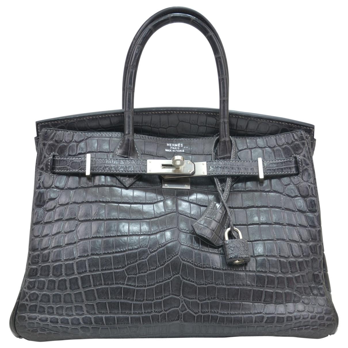 Hermes - Sac a main Birkin 30 pour femme en crocodile - anthracite