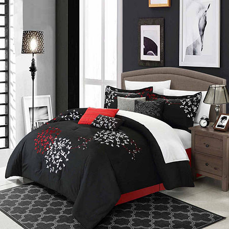 Chic Home Cheila 12-pc. Midweight Embroidered Comforter Set, One Size , Black