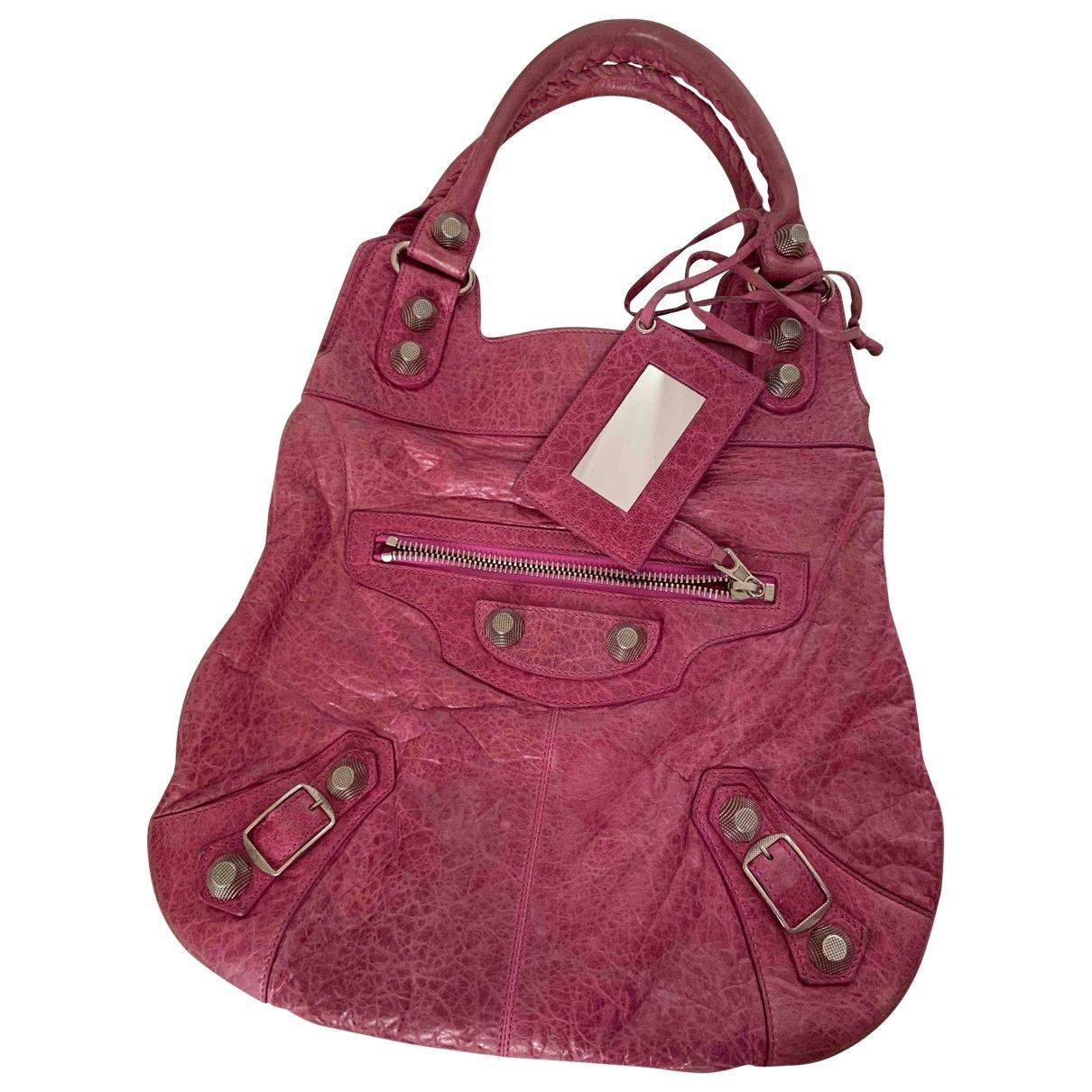 Balenciaga - Sac a main Velo pour femme en cuir - rose