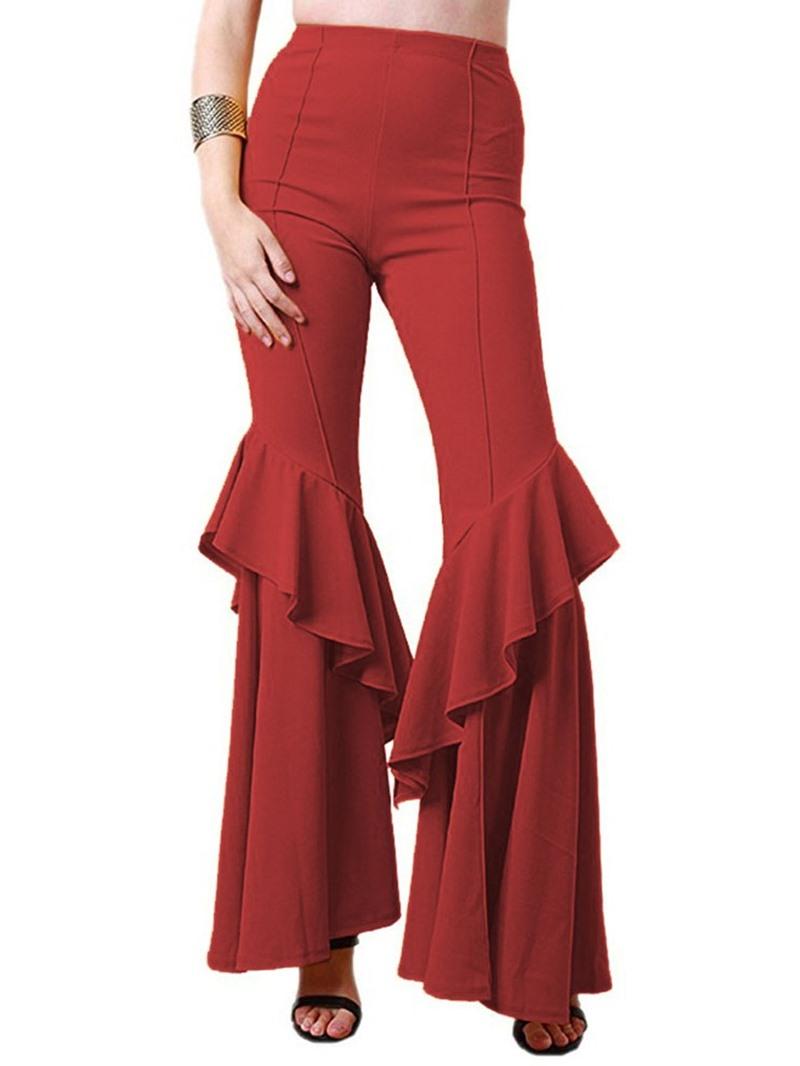 Ericdress Plain Slim Falbala Full Length Bellbottoms Casual Pants