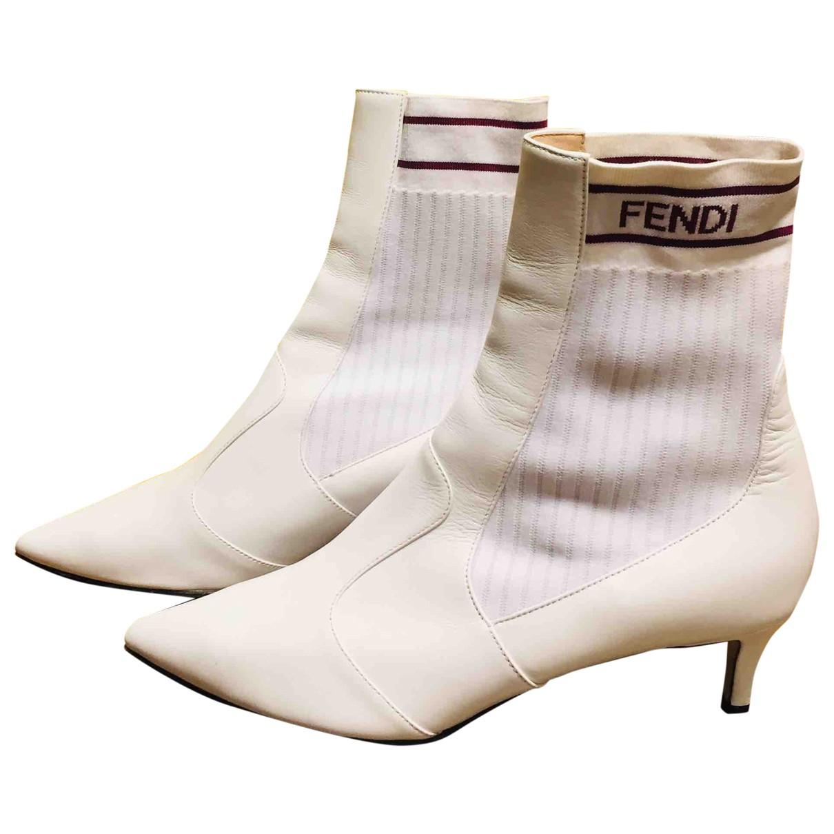 Fendi - Boots   pour femme en cuir - blanc