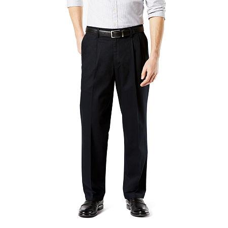 Dockers Men's Relaxed Fit Signature Khaki Lux Cotton Stretch Pants - Pleated D4, 38 30, Black